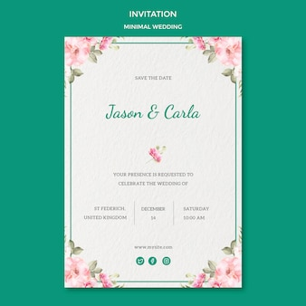 Invitation card template with wedding
