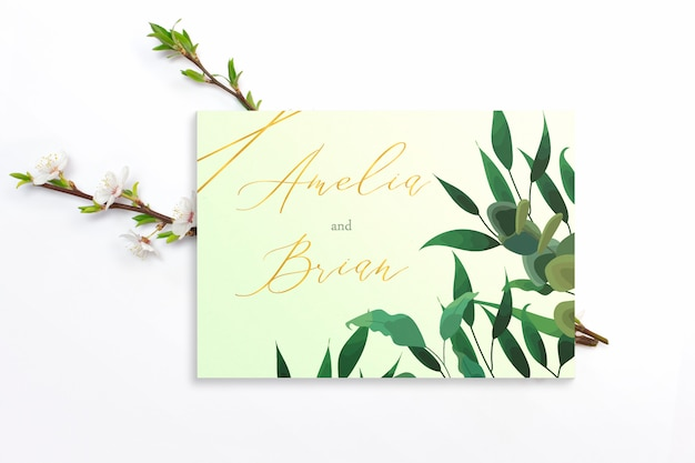 Invitation card with branches