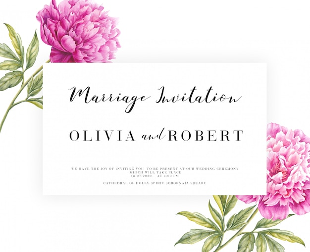 Invitation card with pink peony flowers