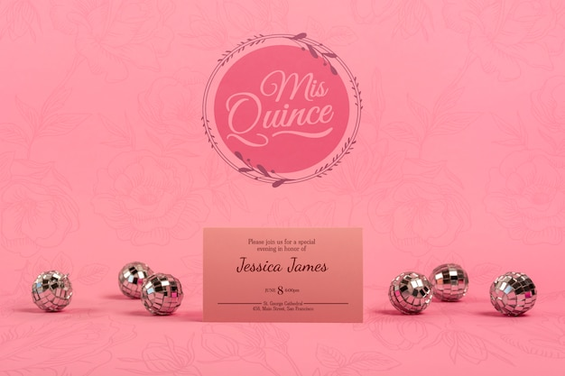 Invitation for girl 15th birthday and silver balls