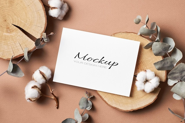 Invitation or greeting card mockup with envelope