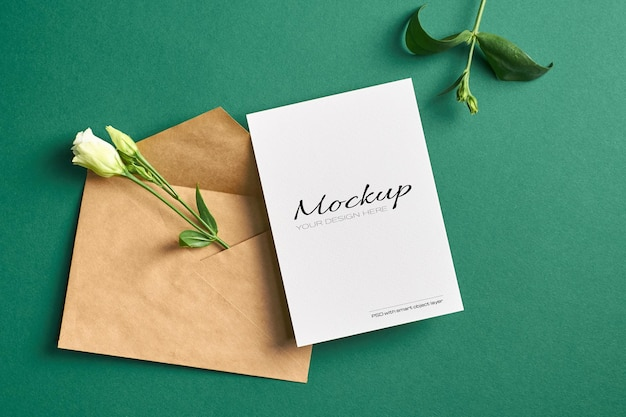 Invitation or greeting card mockup with white eustoma flowers