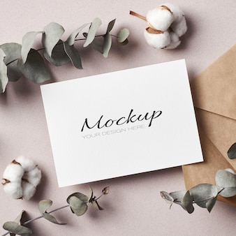Invitation or greeting card stationary mockup with envelope