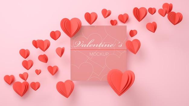발렌타인 개념 3d 렌더링 초대 모형
