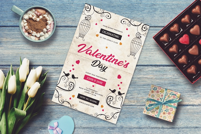 Invitation mockup with valentine design