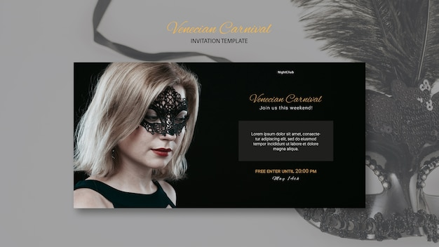 Invitation template of woman wearing a venetian mask