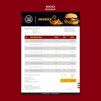 Invoice design for restaurant
