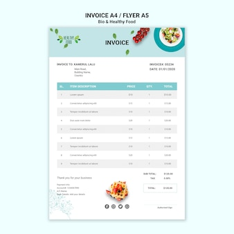 Invoice of restaurant with healthy food