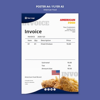 Invoice template for american food restaurant