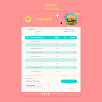 Invoice template for american food with burger