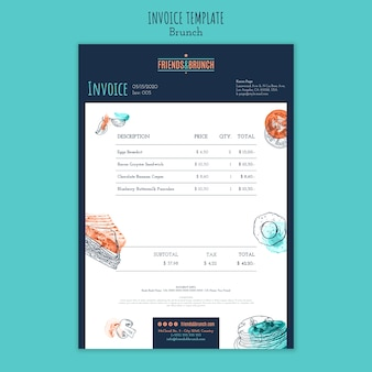 Invoice template for brunch restaurant