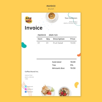 Invoice template for brunch