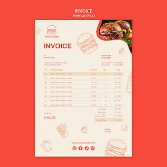 Invoice template for burger restaurant