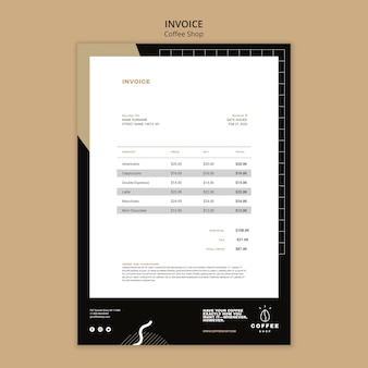 Invoice template concept for coffee shop