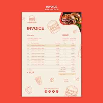 Шаблон счета-фактуры для бургерного ресторана