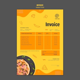 Invoice template for italian food bistro