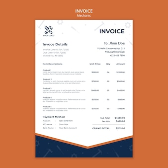 Invoice template for mechanic repairs