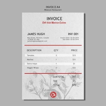 Invoice template for mexican restaurant