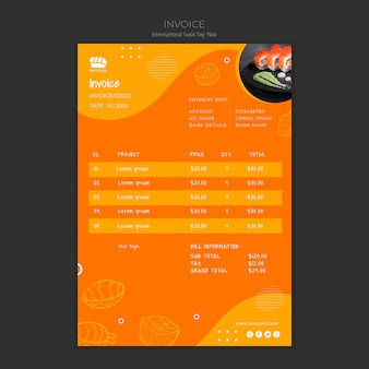Invoice template for sushi restaurant