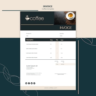 Invoice template theme with coffee