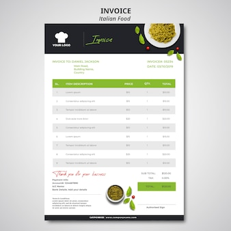 Invoice template for traditional italian food restaurant