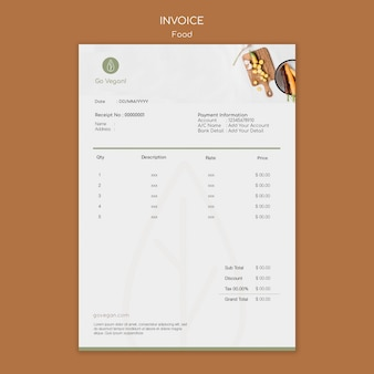 Invoice template for vegan food