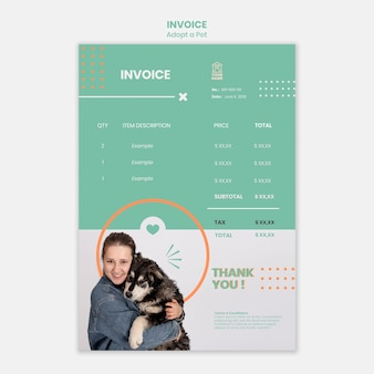 Invoice template with adopt pet