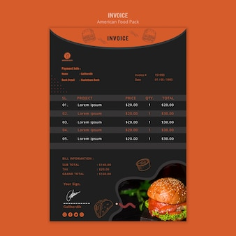 Invoice template with american food