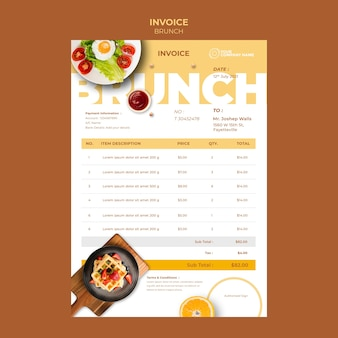 Invoice template with brunch theme