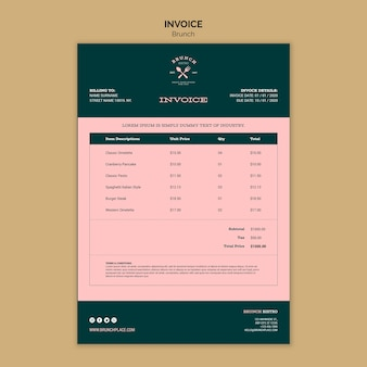 Invoice template with brunch