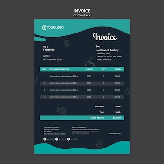 Invoice template with coffee concept