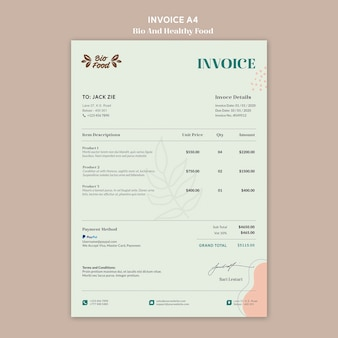 Invoice template with healthy food