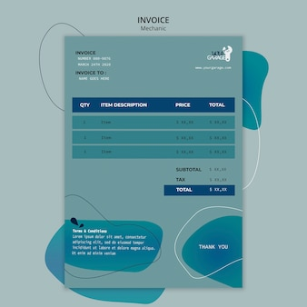 Invoice template with mechanic concept