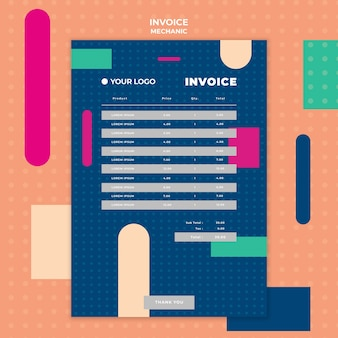 Invoice template with payment for mechanic