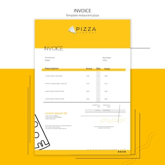 Invoice template with payment for pizza restaurant