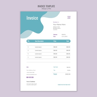 Invoice theme with pet adoption