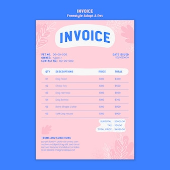 Invoice with adopt pet