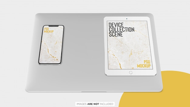 Ipad macbook pro and iphone x collection top view psd mockup