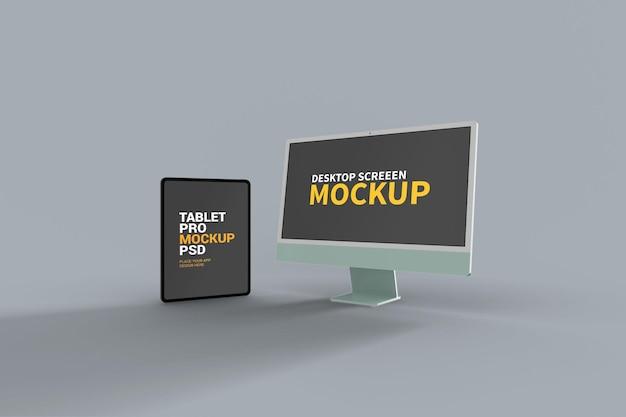 Макет ipad pro и imac Premium Psd
