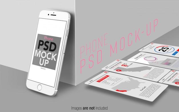 Серебряный iphone 8 psd макетная сцена с экранами пользовательского интерфейса