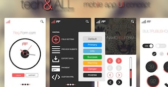 Iphone App concept with colorful buttons