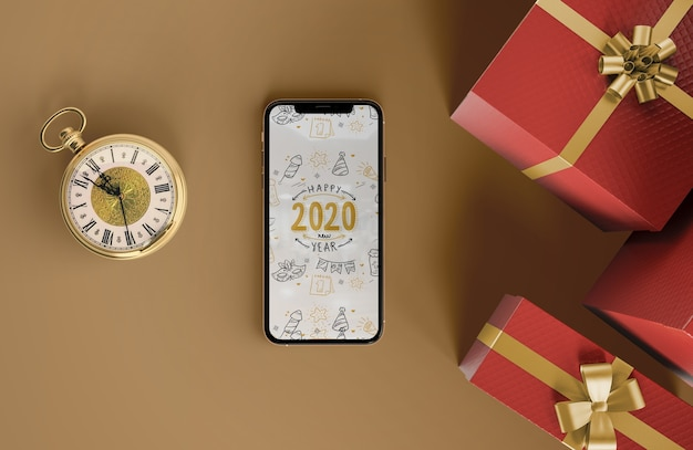 Iphone mock-up with gifts