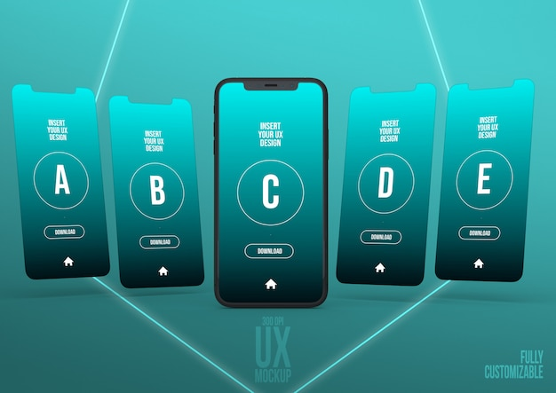 Iphone mockup scene template with 5 interfaces