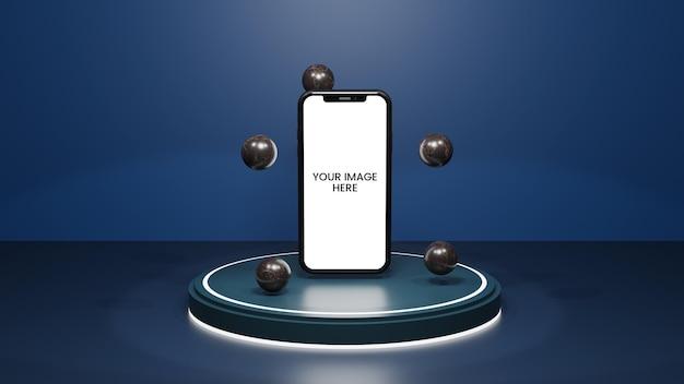 프레젠테이션 디스플레이를 위한 연단 파란색 네이비 테마 우아한 모형이 있는 iphone 모형