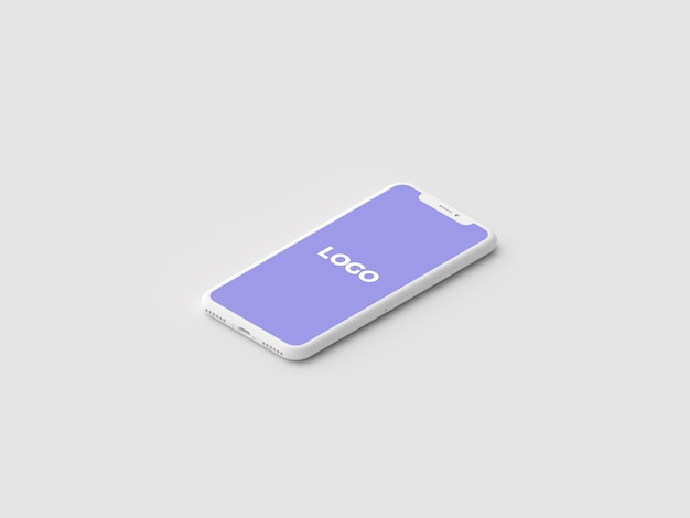 アイソメトリック最小クレイiphone xプレゼンテーションモックアップ