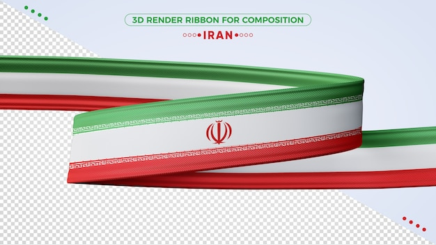 Iran 3d render ribbon for composition