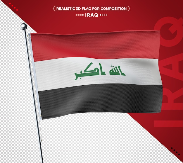 Iraq 3d flag rendering isolated