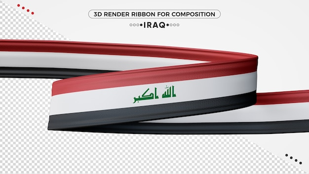Iraq 3d render ribbon for composition