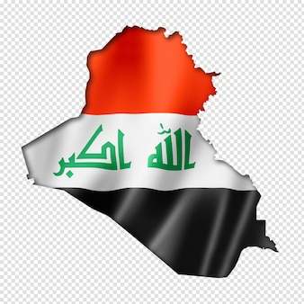 Iraq flag map in three dimensional render isolated