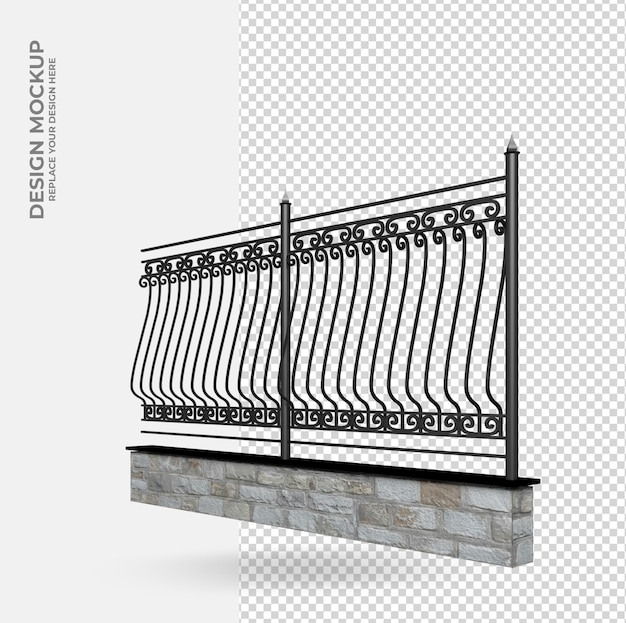 Iron fence in 3d rendering decoration